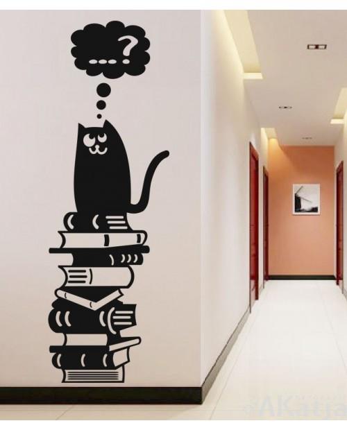 Naklejka Kot i Książki