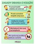 Naklejka na ścianę: Zasady dbania o książki