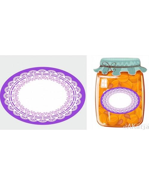 Etykiety owalne fioletowa koronka