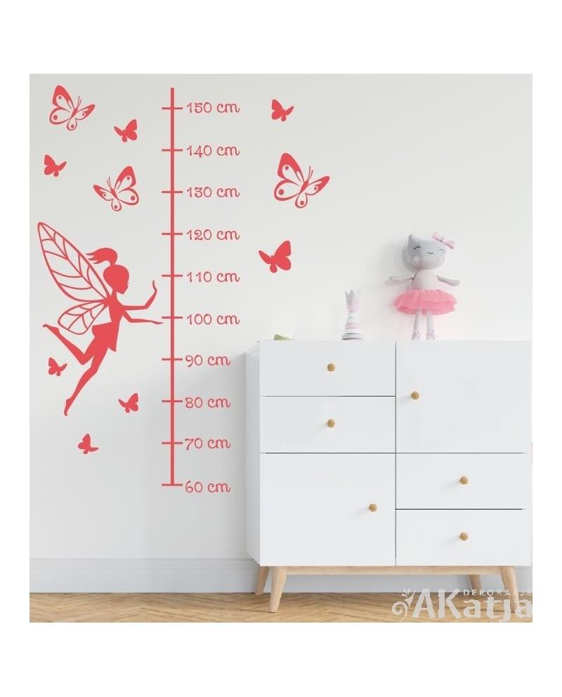 Naklejka Miarka wzrostu-wróżka i motylki