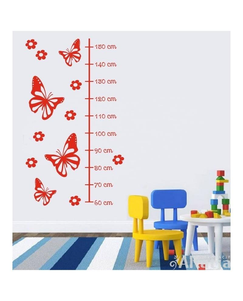 Naklejka Miarka wzrostu-motylki