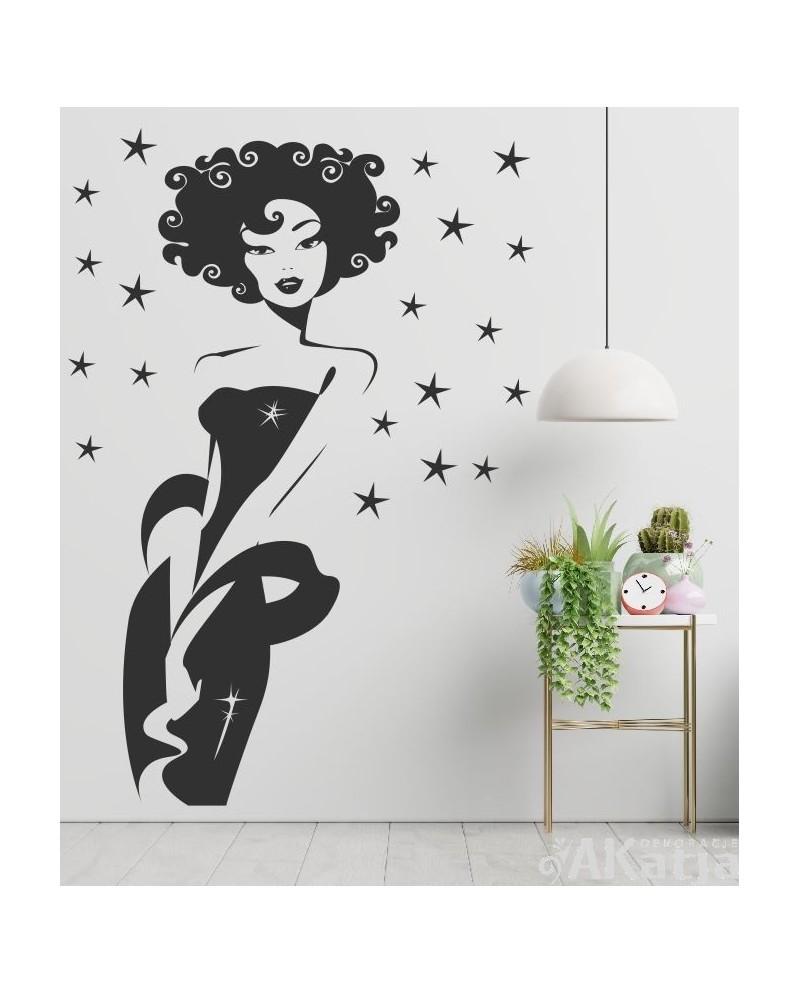 Naklejka postać kobieta i gwiazdki