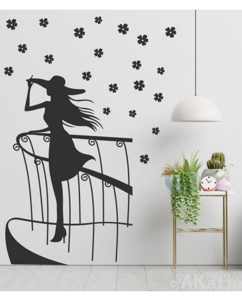 Naklejka postać kobieta na balkonie