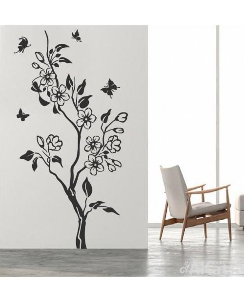 Naklejka Kwiaty Gałąź i Motylki