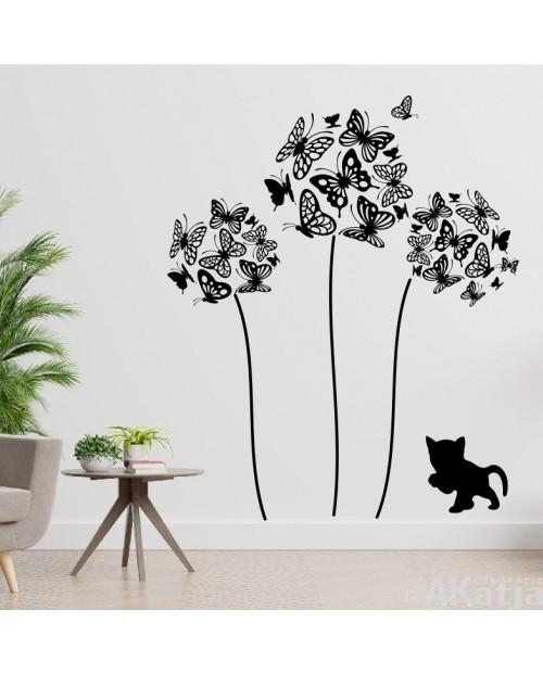 Naklejka Dmuchawce i Motyle