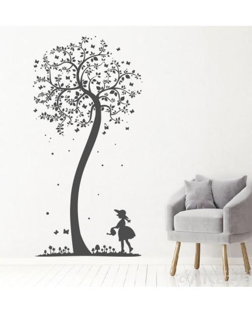 Naklejka Drzewo i Dziewczynka