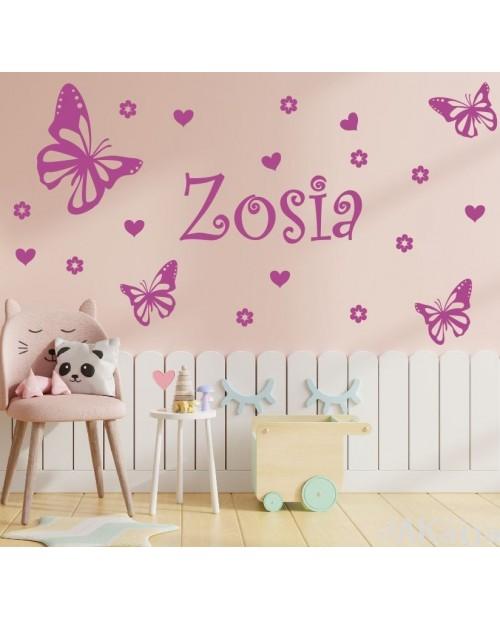 Naklejka dla dzieci imiona motylki