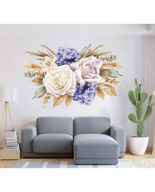 Naklejka na ścianę: Hortensje i Róże