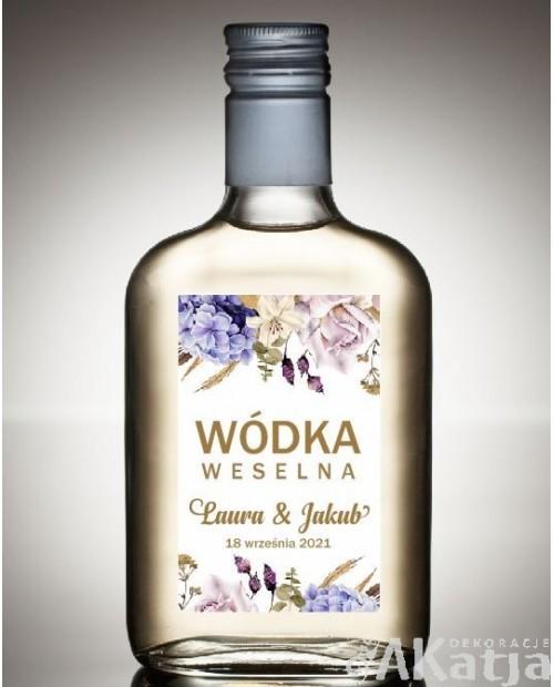 Etykieta na Alkohol Weselny - Hortensje i Róże