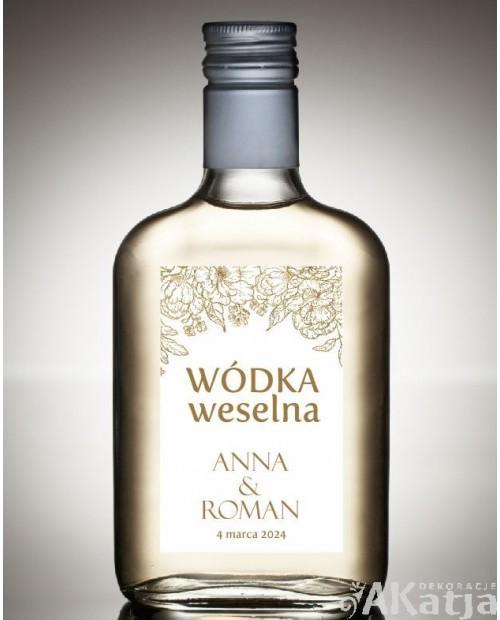 Etykieta na Alkohol Weselny - Złoty Glamour