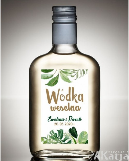 Etykieta na Alkohol Weselny - Zielone Liście