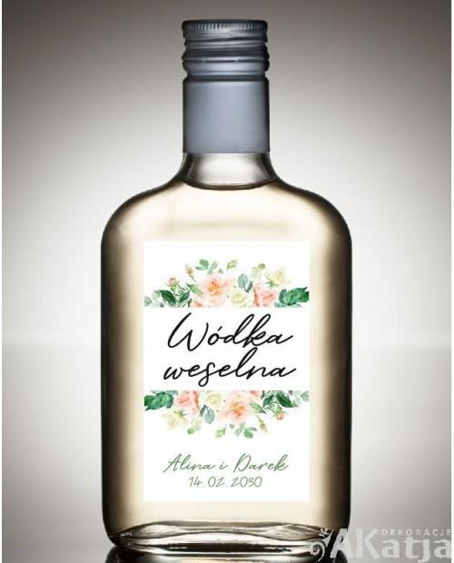 Etykieta na Alkohol Weselny - Koralowa Róża