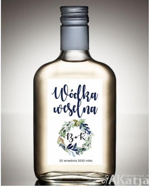 Etykieta na Alkohol Weselny -  Granatowy Wianek