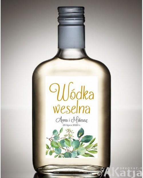 Etykieta na Alkohol Weselny -  Białe Kwiaty