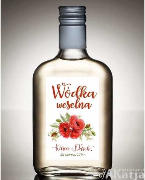 Etykieta na Alkohol Weselny -  Czerwone Maki