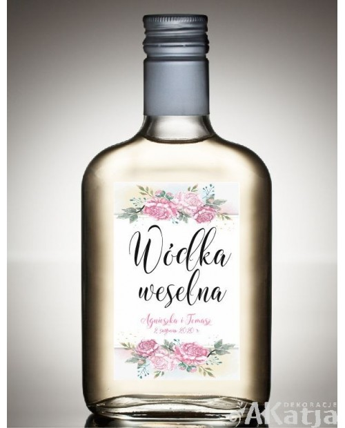 Etykieta na Alkohol Weselny - Piwonie
