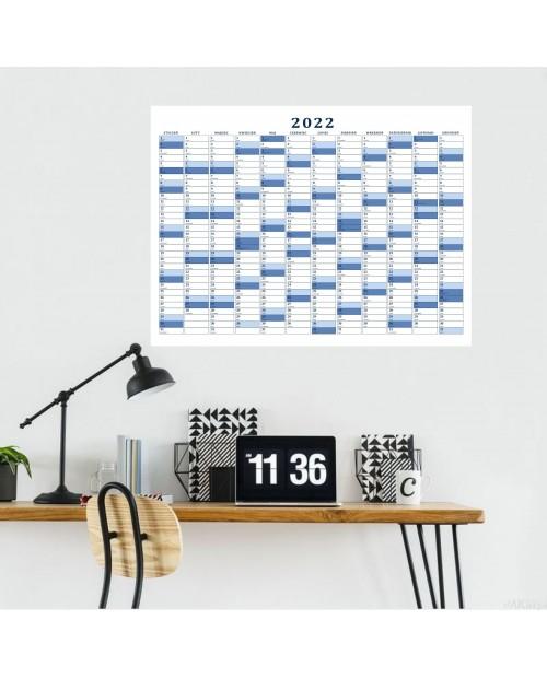 Planer roczny suchościeralny- niebieski