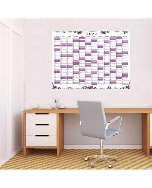 Planer roczny suchościeralny- fioletowe maki