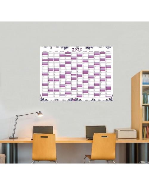 Planer roczny papierowy- fioletowe maki