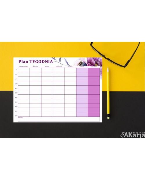 Planer plan tygodnia suchościeralny- fioletowe maki