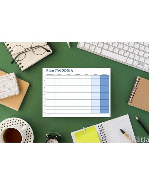 Planer plan tygodnia suchościeralny- niebieski