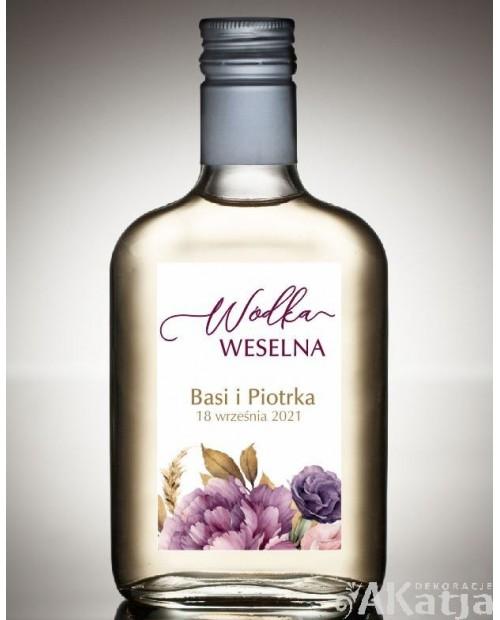 Etykieta na Alkohol Weselny - Jesienne Piwonie
