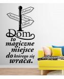 Dom to magiczne miejsce napis z drogowskazem