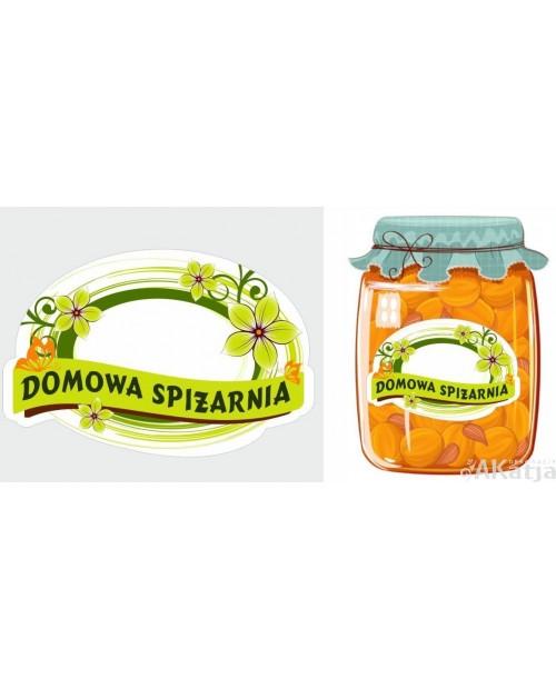 Etykiety Domowa spiżarnia zielone kwiatki
