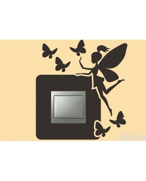 Naklejka pod włącznik z motylkami i wróżką
