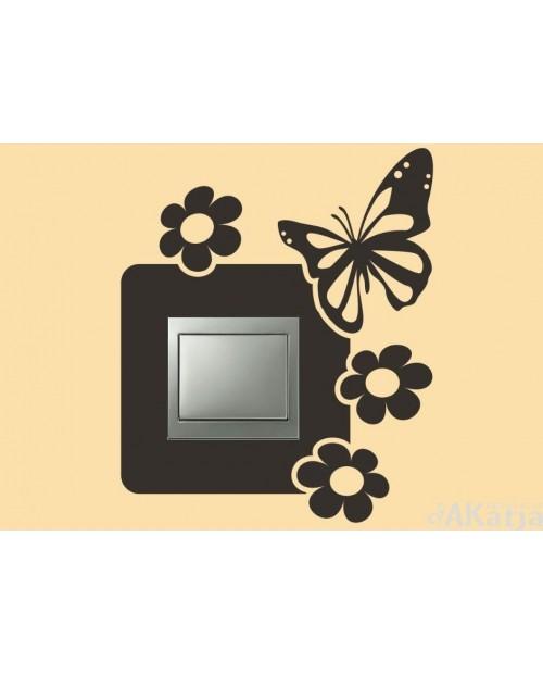 Naklejka pod włącznik motyl i kwiatuszki