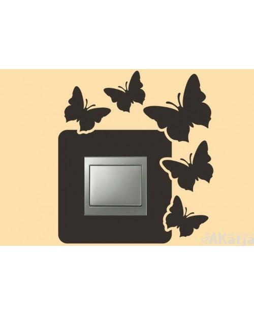 Naklejka pod włącznik pięć motylków