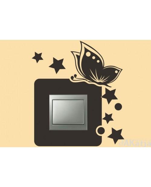 Naklejka pod włącznik z motylem i gwiazdkami