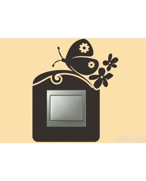 Naklejka pod włącznik motyl i kwiatki