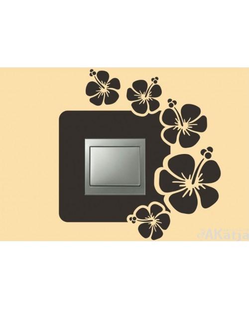 Naklejka pod włącznik kwiatki hibiskusa