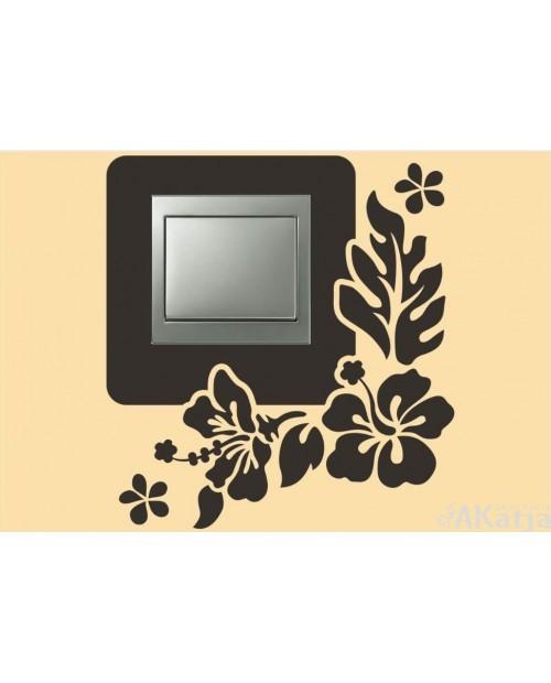 Naklejka pod włącznik hibiskusy i liście