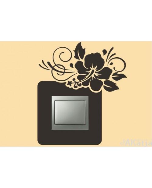 Naklejka pod włącznik kwiat hibiskusa z zawiasem