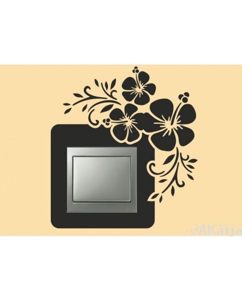 Naklejka pod włącznik kwiaty hibiskusa i gałązki