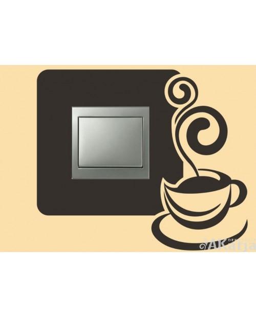 Naklejka pod włącznik z filiżanką kawy
