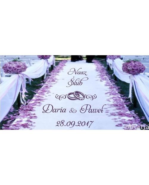 Naklejka na dywan nasz ślub z obrączkami