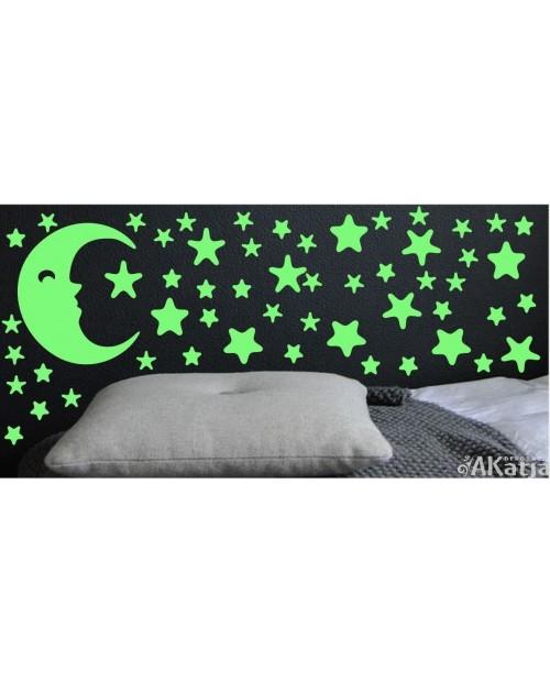 Naklejka świecąca w nocy księżyc i gwiazdki