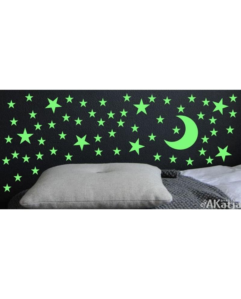 Naklejka świecąca w nocy gwiazdki i księżyc