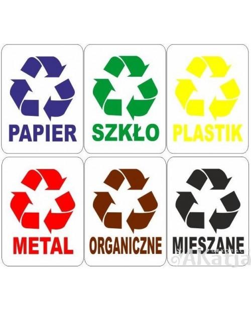 Zestaw naklejek 15x20cm na kosz do segregacji śmieci