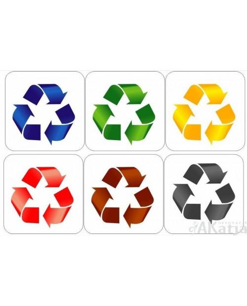 Zestaw naklejek 15x15cm na kosz do segregacji śmieci