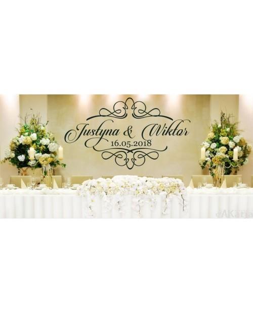 Naklejka ślubna imiona data i ornament