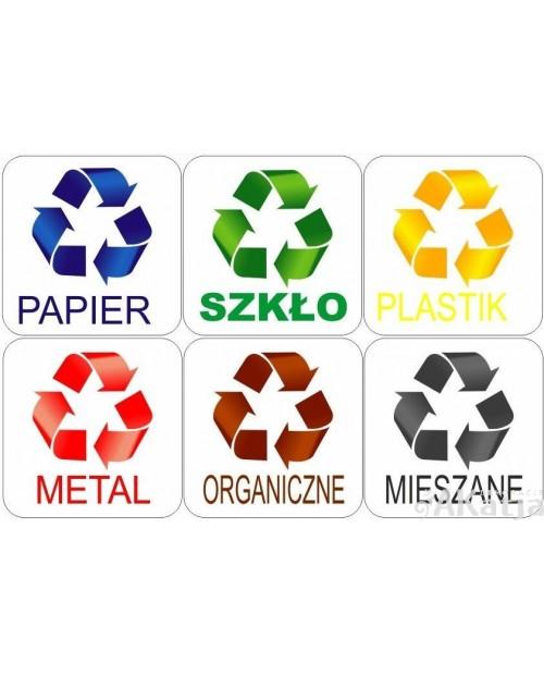 Zestaw naklejek 5x5cm na kosz do segregacji śmieci