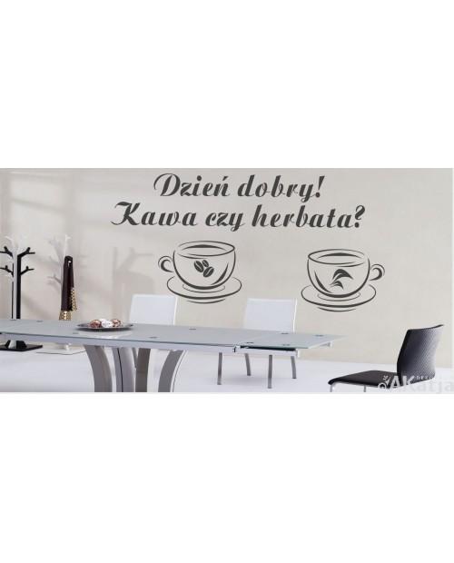 Naklejka dzień dobry kawa czy herbata