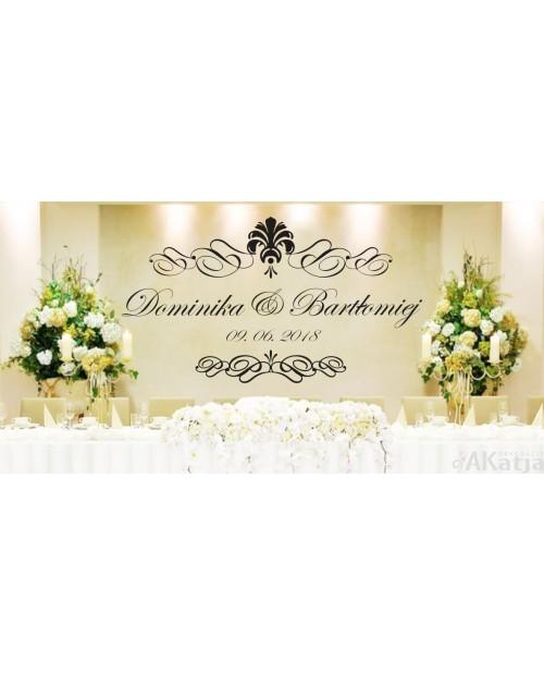 Naklejka ślubna z imionami datą i ornamentami