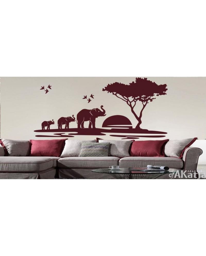 Naklejka Drzewo i Słonie