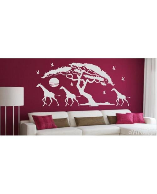 Naklejka Drzewa i Żyrafy