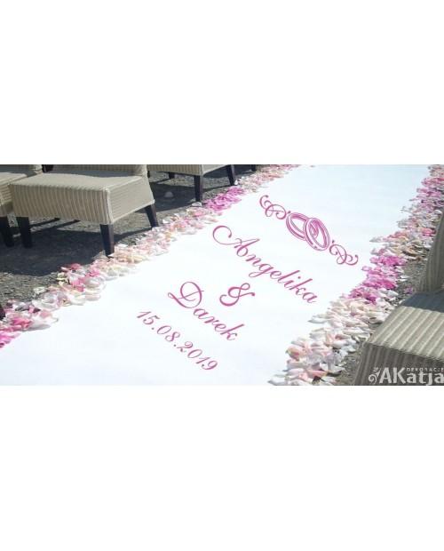 Naklejka ślubna na dywan imiona z obrączkami